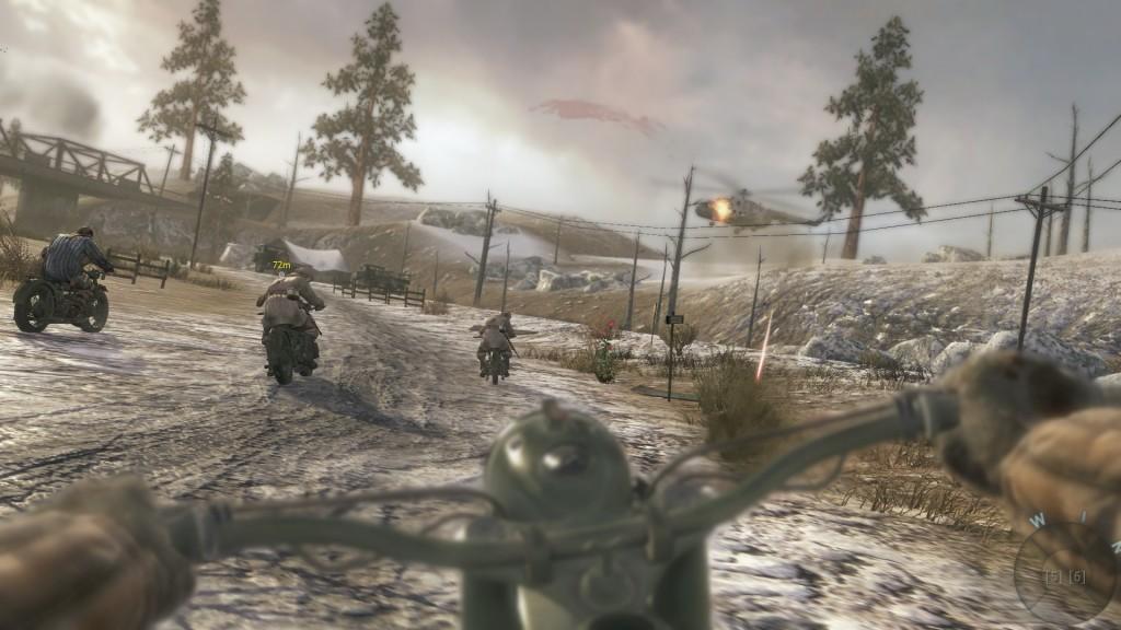 Эпизод с побегом на мотоцикле с шотганом на руле напомнил катание на трайках со снайперской винтовкой в Medal of Honor. Только там это выглядело как-то... адекватнее, что ли.