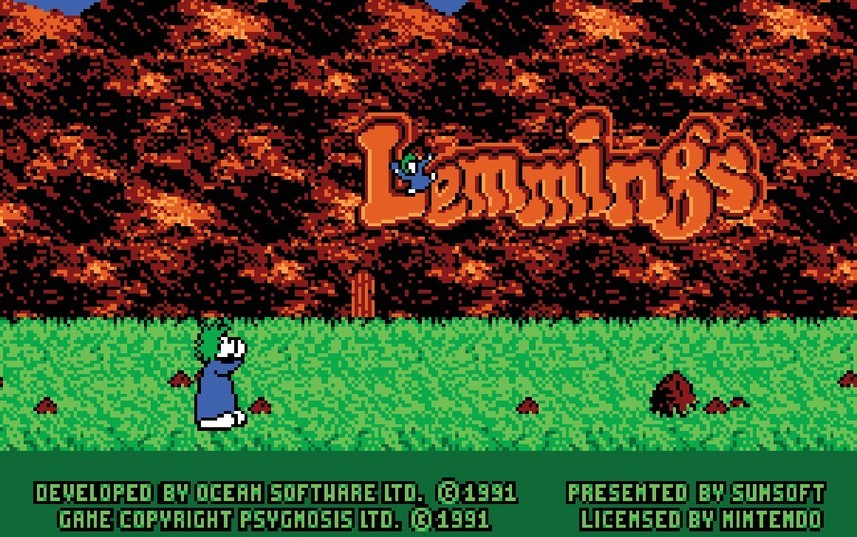 Специально для NES-версии Lemmings была нарисована очень милая заставка с падающим (не в пропасть) леммингом.